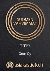 Onos Oy:llä on Suomen Asiakastiedon myöntämä Suomen Vahvimmat -sertifikaatti